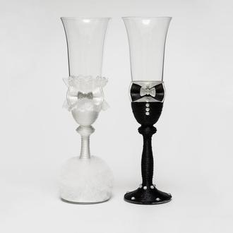 """Свадебные бокалы """"Жених и невеста""""  черно-белые (арт. WG-201)"""