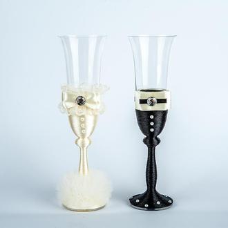 """Свадебные бокалы """"Жених и невеста"""" черно-бежевые (арт. WG-228)"""