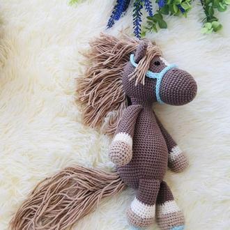 Вязаная лошадка, экоигрушка