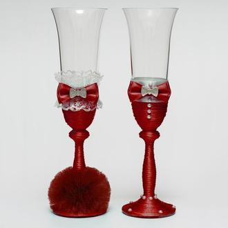 """Свадебные бокалы """"Жених и невеста"""" марсала (арт. WG-210)"""
