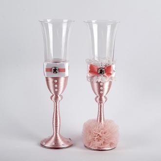 """Свадебные бокалы """"Жених и невеста"""" пудра (арт. WG-214)"""