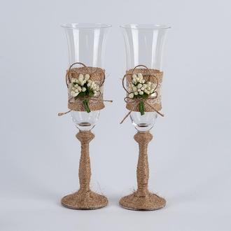 Свадебные бокалы в стиле рустик (арт. WG-501)