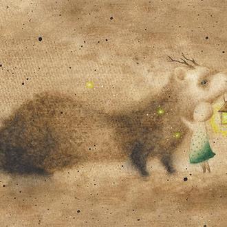 Акварель, принт А4, плакат, постер (тхорик, тхір, хорек, фретка).
