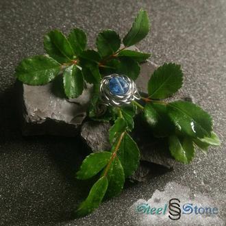 """Кольцо """"Синяя роза"""" с натуральным синим цирконом из нержавеющей стали. Размер регулируется."""