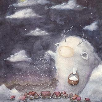 Акварель, принт, постер А4 (зима).