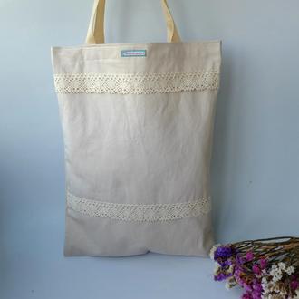 Эко сумка для покупок с кружевом, сумка пакет, эко торба, хлопковая сумка шоппер 50(1)