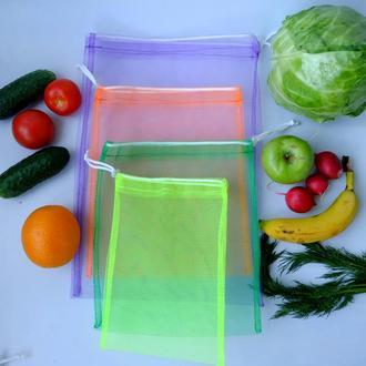 Набор эко мешочков из сетки, эко торбочки, мешки для продуктов, еко мішки із сітки 02