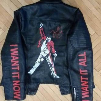 кожанная куртка косуха с росписью Фредди Меркури