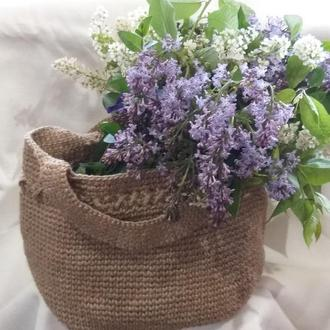Эко-сумка шоппер вязаная из натурального джута. Пляжная сумочка мамы