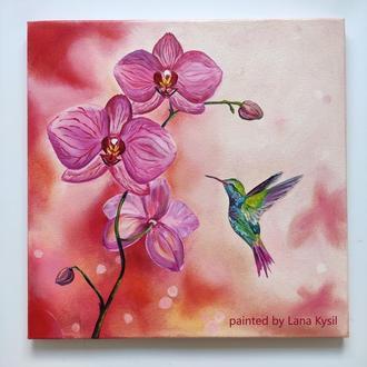 """Картина маслом """"Колібрі і орхідея"""" 30х30 см, Інтер'єрна картина, Живопис олією"""