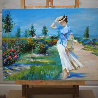 """Девушка в саду"" картина маслом"