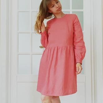Весенне-летнее льняное платье с длинным рукавом кораллового или любого другого цвета