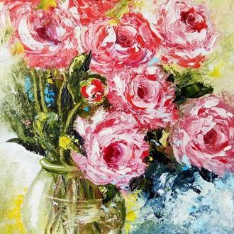 """Картина полуабстракция """"Розы в прозрачной вазе"""" масло холст"""