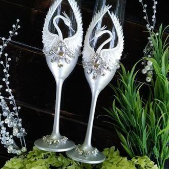 """Свадебные бокалы """" Лебеди в серебре"""""""
