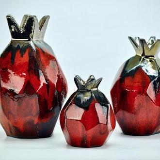 Набор керамических  красных ваз из 3 гранатов, Абстрактная керамическая ваза Гранат, арт.№2