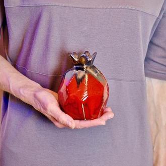 Абстрактная керамическая ваза Гранат ручной работы, Современное искусство,Высота 12см.,арт.№5