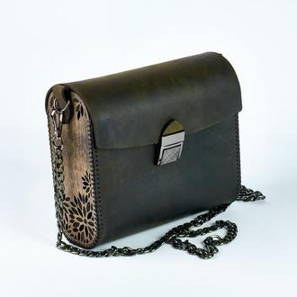 Кожаная сумка черная с деревянными вставками кожа crazy horse золотая фурнитура
