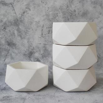 """Большой белый бетонный горшок для растений """"ОКТА"""""""