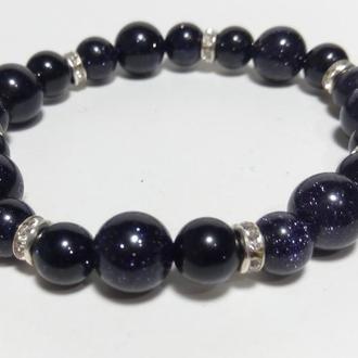 Браслет Авантюрин ночь Каира, натуральный камень, цвет темно-синий, тм Satori \ Sb - 0009