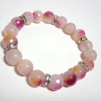 Браслет из Аметрина, натуральный камень, цвет розовый и его оттенки, тм Satori \ Sb - 0012