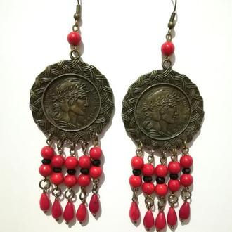 Серьги из Коралла, бронза, натуральный камень, цвет красный, тм Satori \ S - 0314