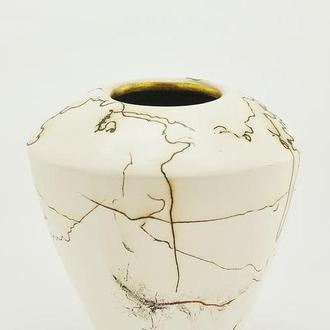 """Большая белая керамическая ваза """"Nacked Raku"""" ,16 см высота,арт.№12"""