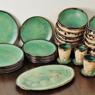 Матовая бирюзовая керамическая посуда, Набор из 6 приборов,,арт.№14