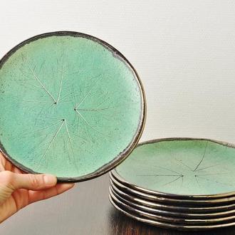 Матовая бирюзовая керамическая тарелка ручной работы, 20 см диаметр, арт.№15