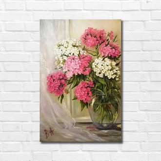 "Картина маслом ""Цветы у окна"" 45х30 см, холст на подрамнике, масло"
