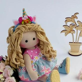 Куколка Единорожка. Текстильная куколка.