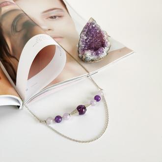 Серебряное колье с аметистами, подарок девушке, фиолетовое ожерелье с камнями