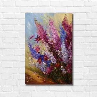 """Картина маслом """"Садові квіти"""" 45х30 см, полотно на підрамнику, олія"""