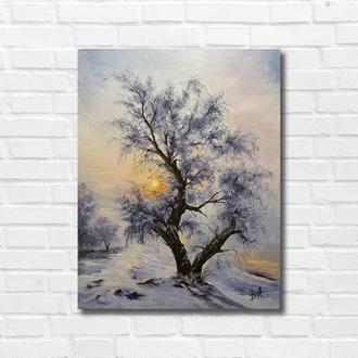 """Картина маслом """"Зимняя сказка"""" 45х35 см, холст на подрамнике, масло"""