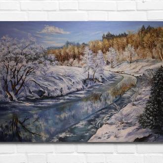 """Картина маслом """"Зима"""" 50х70 см., холст на подрамнике, маслом."""