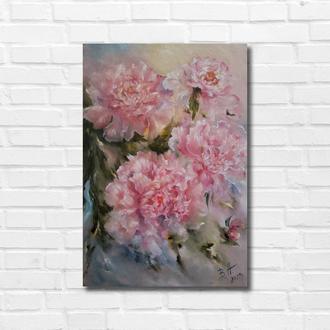 """Картина маслом """"Розовые пионы"""", 45х30 см. холст, масло"""