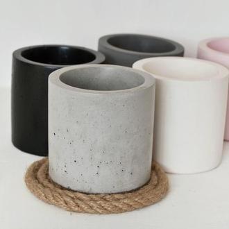 Горшок из бетона в форме цилиндра 8*8 см, кашпо из бетона.