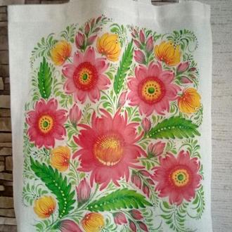 Текстильная эко сумка с ручной росписью, Петриковка Лето