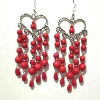 Серьги восточные с Кораллом, натуральный камень, цвет красный, длина 9,5 см, тм Satori \ S - 0355