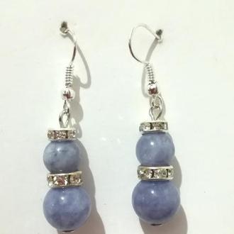 Серьги из Ангелита натуральный камень, цвет серо-голубой, тм Satori \ S-0362