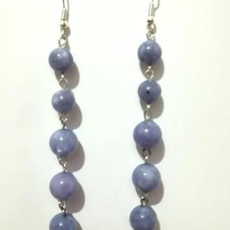 Серьги из Ангелита натуральный камень, цвет серо-голубой, тм Satori \ S-0363