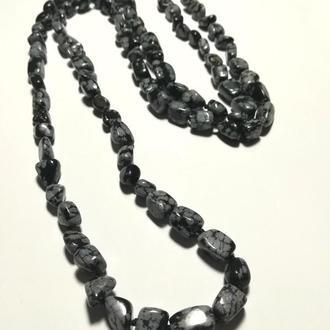 Бусы длинные из Обсидиана, натуральный камень, цвет серый и его оттенки, тм Satori \ Sk - 0032
