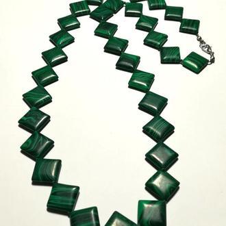 Колье из Малахита прес., натуральный камень, цвет зеленый и его оттенки, тм Satori \ Sk - 0034