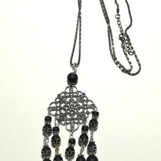 Підвіска з Шунгита з ланцюжком, натуральний камінь, колір чорний, тм Satori \ Sk - 0036