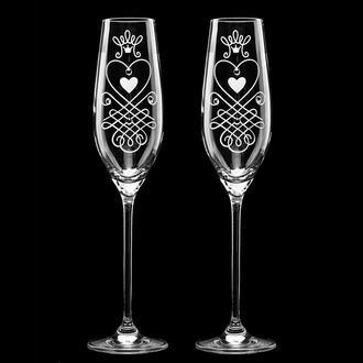 Свадебные элитные бокалы с гравировкой и стразами Swarovski (арт. S4)