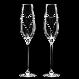 Свадебные элитные бокалы с гравировкой и стразами Swarovski (арт. S6)