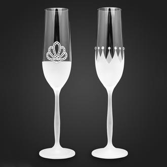 Свадебные элитные бокалы с гравировкой и стразами Swarovski (арт. S19)