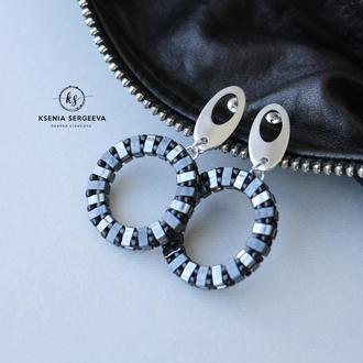 Стильные серьги кольца с застежкой из нержавеющей стали