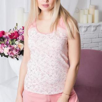 Пижама хлопковая летняя женская персиковая