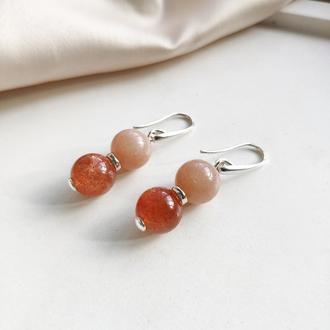 Серебряные серьги с натуральным камнями, Лунный и солнечный камень, Оранжевые серьги, Подарок для