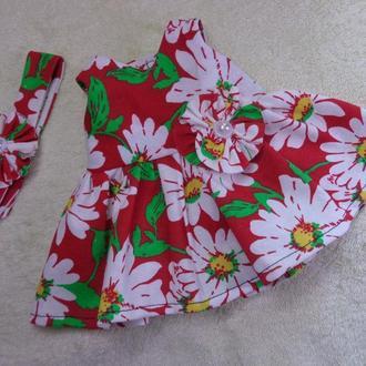 Одежда ! Комплект :платье и повязка для куклы Беби борн ростом 43 см.Или подобных кукол .